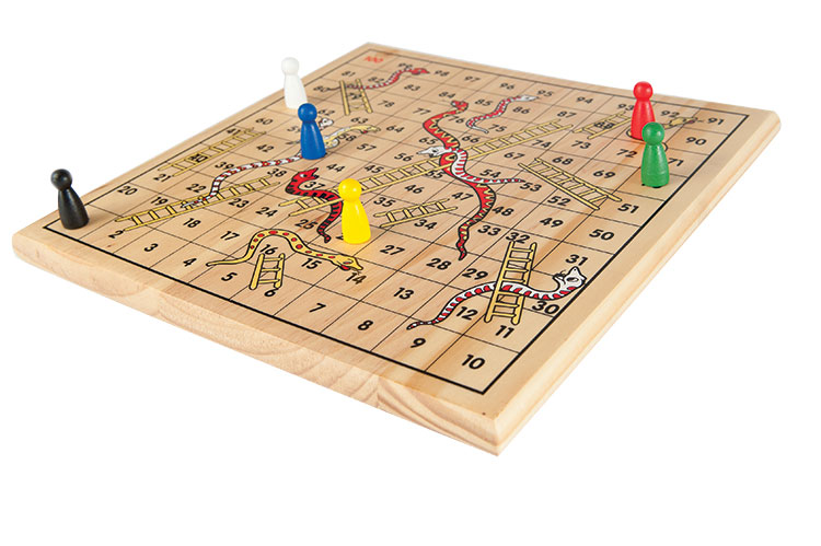 Traditional Wooden Snakes & Ladders