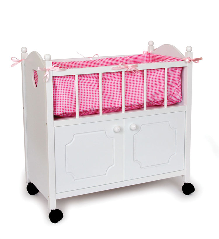 Doll bed pink cupboard