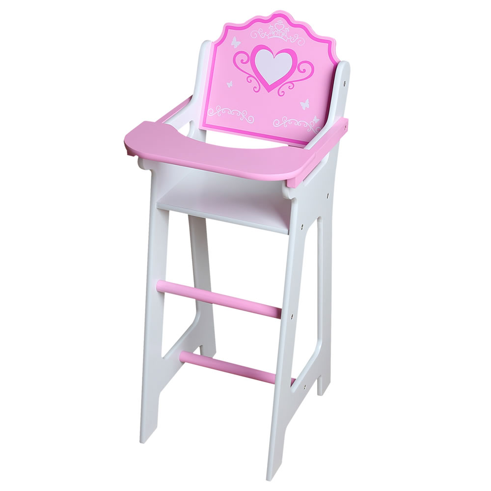 Pink And White Wooden Highchair Gamez Galore